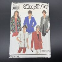 Simplicity Vintage Sewing Pattern #7112 Misses Unlined Jacket Collar Sizes PT-XL