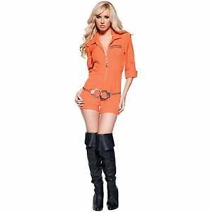 Sexy Orange Prisoner Jail Inmate Playsuits Jumpsuit Women Jailbird Convict