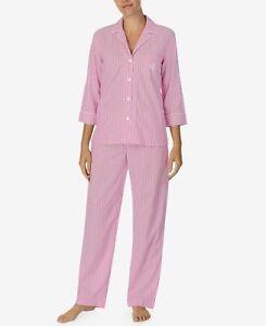 lauren ralph lauren petite printed three quarter sleeve pajama set pink  PL
