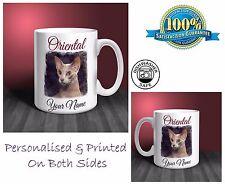 Oriental Cat Personalised Ceramic Mug: Perfect Gift. (CA08)