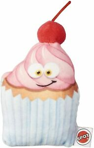 """Spot Ethical Cherry cupcake Fun Face Food Dog Toy 4"""" with squeaker Soft Plush"""