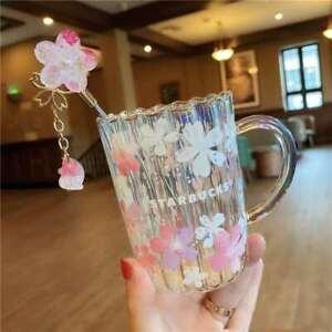 Hot NEW Starbucks Japan Sakura Glass W/Stir Stick Cup Glass Mugs Limited Edition