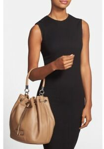 $468 MARC JACOBS Too Hot to Handle Leather Drawstring Bucket Bag, Camel