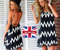 Women Ladies Aztec Backless Chiffon Beach Dress Short Summer Black UK Size 8-14