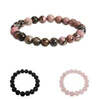 "8mm Gemstone Beads Bangle ,Buddha Yoga,Ohm Aum Chakra 7"" Bracelet Stretch S7R3"