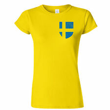 SWEDEN FOOTBALL INSPIRED POCKET BADGE DISTRESSED LOOK WOMENS T SHIRT EUROS