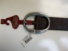 BRIGHTON - Brown Leather Belt, Silver Buckle, B21208, Size 30