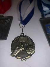 "Lot Of 3 Metals silver soccer medal black neck drape 1 3/4"" diameter Pdu 32170-S"