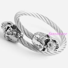 Cuff 316L Stainless Steel Mens bracelet Heavy Cool Silver Tone Skull End Bangle
