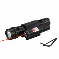 Rechargeable T6 LED Tactical Hunting Flashlight Gun Mount Red Laser Dot Sight