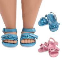 1 Para 18 Zoll Puppe Schuhe Pailletten Bogen Mode Sandalen für Baby Geschen O3A8