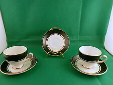 Royal Grafton White / Green 2 cups & 3 saucers