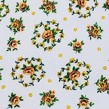 "Fabric 1 Yard X 44"" Floral Orange Green Yellow Sew Quilting Cotton Apparel #1w51"