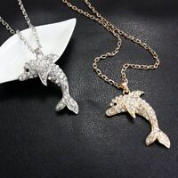 Fashion Women's Lovely Dolphin Crystal Rhinestone Pendant Chain Necklace Jewelry