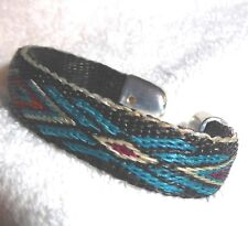 Hitched horse hair horsehair bracelet Turquoise & Black colored design (Small)