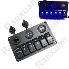 6 Gang Waterproof Rocker Switch Panel Breaker LED Car Marine Boat Circuit USB