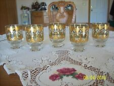 Culver Gold Valencia Double Old Fashion Set Of 5 Punch Or Barware Rock Glasses
