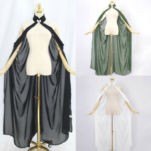 Womens Chiffon Sheer Mesh Halter Fairy Elf Elven Cloak Shawl Wedding Dress Cape