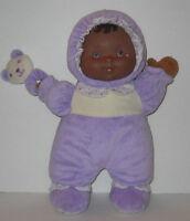 "Purple Baby Doll Berenguer Brown Skin Vinyl Plush Crinkle Rattle Soft Toy 13"""