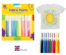 8 Pack FABRIC PAINTS Kids Children Party Craft Hobby Cloth T Shirt Painting GEM