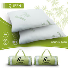 Queen Set of 2 Hotel Hypoallergenic Bamboo Bed Pillow Memory Foam with Carry Bag