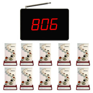 SINGCALL Wireless Table Calling System 1 Display Receiver, 10 Pagers for Cafe