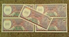 Set Of 5 X Suriname Banknotes. 100 Gulden. Uncirculated. Pick 128B.