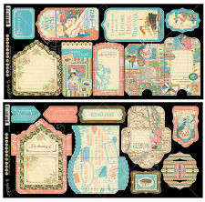 Graphic45 Die-Cuts COME AWAY WITH ME TAGS & POCKETS scrapbooking Vintage