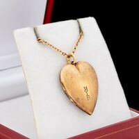 Antique Vintage Deco 14k Gold Filled GF Sweetheart Monogram Locket Necklace 7.1g