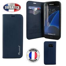 Etui Rabattable Bleu Avec Support et Carte Visite pour Samsung Galaxy S7 G930