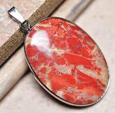 "Bloodstone Jasper Sea Sediment Quartz Natural Gemstone 1.75"" Silver Pendant #29"