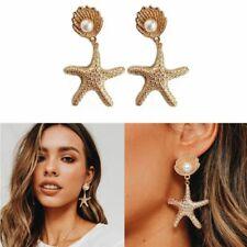 Golden Beach Large Starfish Shell Pearl Drop Earring Women Fashion Jewelry Gift