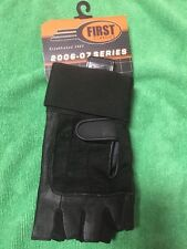First Classic Men's Fingerless Leather Motorcycle Pair Glove NEW Black XS
