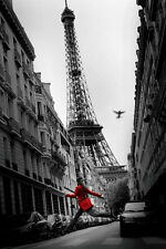 La Veste Rouge Poster Red Coat Eiffel Tower Black and White Decorative Beauty