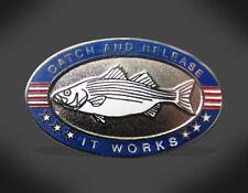 Hat Lapel Pin Wearable Art Gift Striped Bass Catch & Release Enamel