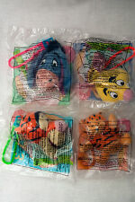1999 & 2000 McDonald's Winnie The Pooh Happy Meal Plush Clip Key Chain Lot Of 4