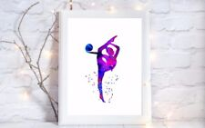 gymnastics dance  a4 glossy poster Print picture,unframed watercolour