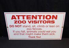 """NOS Attention Zoo Visitors Porcelain Enamel 14"""" X 7.25"""" Sign Garage Ande Rooney"""