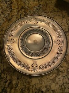 Exquisite Vtg Open Work Detail R Monogram STERLING Silver Plate Tray 215 Grams