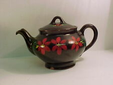 Canadian Art brown Teapot with hand painted accents
