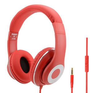 RockPapa Girls DJ Headphones Headsets for iPod iPad iPhone MP3/4 Samsung LG Red