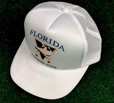 NWOT VINTAGE FLORIDA SUNSHINE STATE SHARK LOGO SNAPBACK TRUCKER HAT WHITE