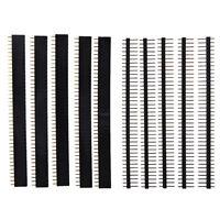5 PCS 40 Pin 2.54mm Single Row Straight Male + Female Pin Header Strip Black N3