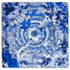 Blue Russian Shawl with Moscow Russia Kremlin Patterns Scarf Wrap Pashmina