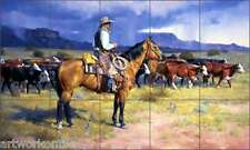 "Ceramic Tile Mural Backsplash Sorenson Western Cowboy 30"" x 18"" RW-JS034"