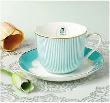 Tea Cup Set (L) CUP/SAUCER/SPOON Coffee Milk Royal Princess Blue FineBone China