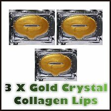 3 x GOLD CRYSTAL COLLAGEN LIP MASKS MASK ANTI AGEING WRINKLE MOISTURISING  LIPS