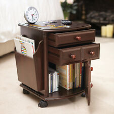 Portable Wheeling Companion Storage Home Accent Table w/ Drawers & Magazine Rack