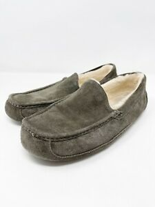 UGG Men's Size 13 Gray Suede Leather ASCOT Slip On Loafers Sherpa Lined