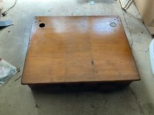 Vintage Early1900s Wood Top School Desk With Two Large Drawers